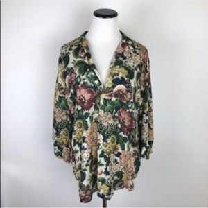 Zara Floral Collared Flowy Tunic Button Down Top